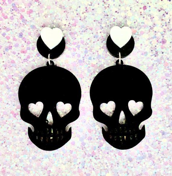 Necromance Skull Romance Earrings - Black - Punk - Rockabilly - Gothic #spookyoutfits