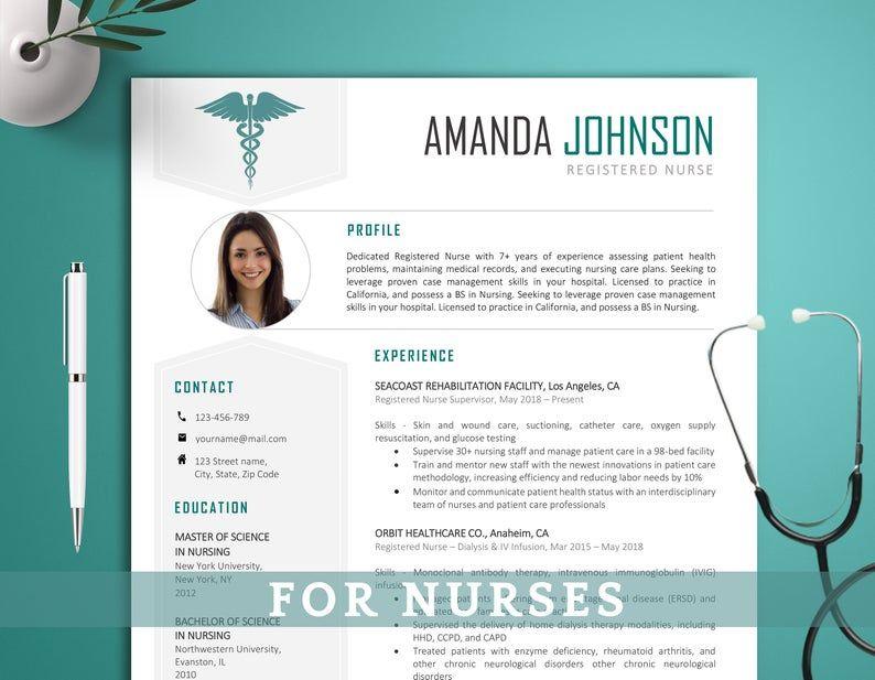 Nurse Resume Template Nursing Resume Template 2 Page Etsy Nursing Resume Template Resume Template Nursing Resume