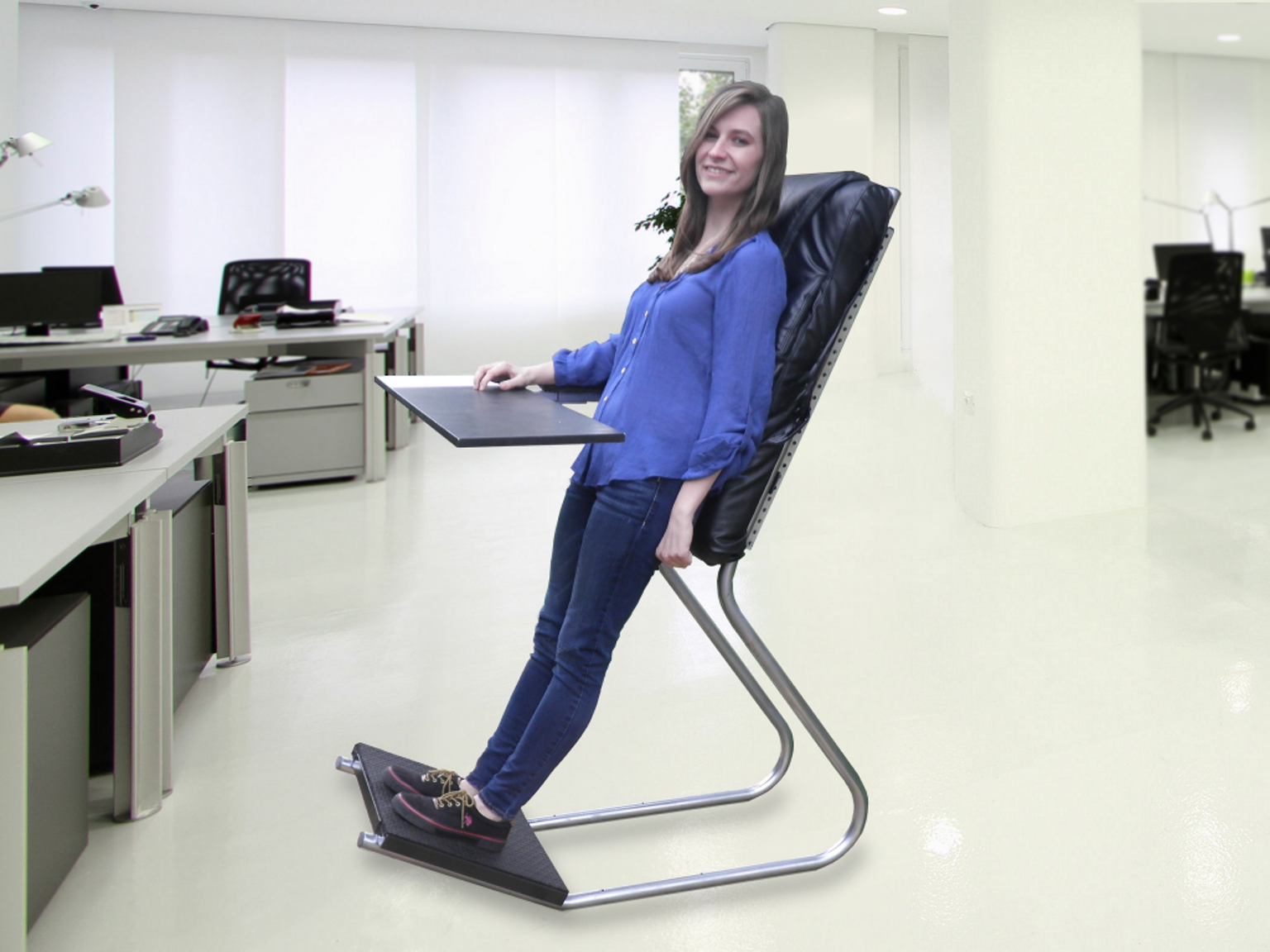 chairs for standing desks solid wooden kitchen leanchair the portable reclining desk by wayne yeager kickstarter more