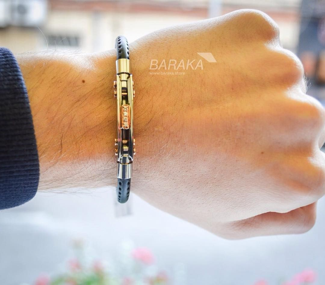 Мужской браслет Baraka BR26117 из нержавеющей стали, черного PVD, черной  керамики и розового золота, 4 черных бриллианта. Ba…   Мужские браслеты  Baraka ... 85da85acd21