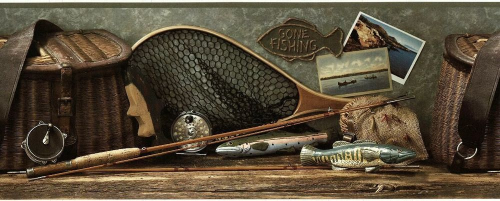 Rustic Fly Fishing Wallpaper Border Fisherman Lodge