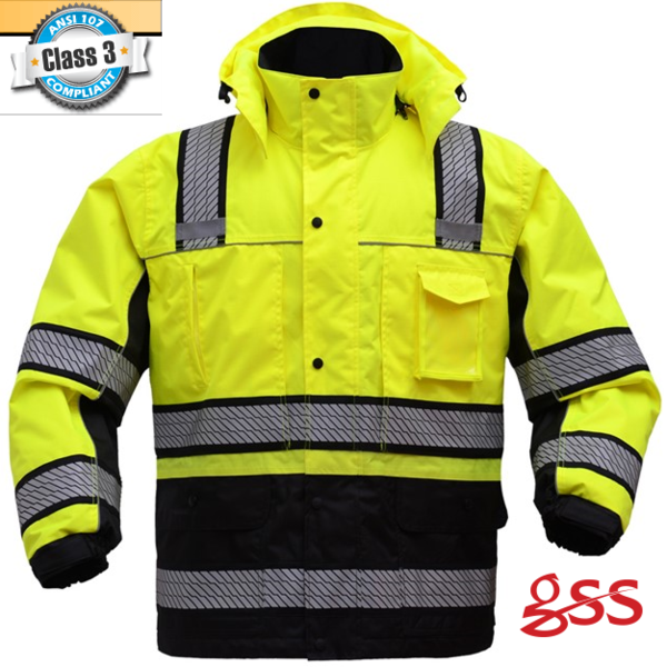 Gss Safety 8505 8507 Hi Vis Onyx Ripstop 3 In 1 Winter Parka Jacket Parka Jacket Jackets Winter Parka Jacket