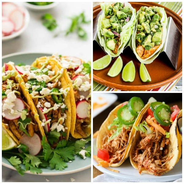 Three Easy Recipes for Shredded Chicken Tacos #shreddedchickentacos