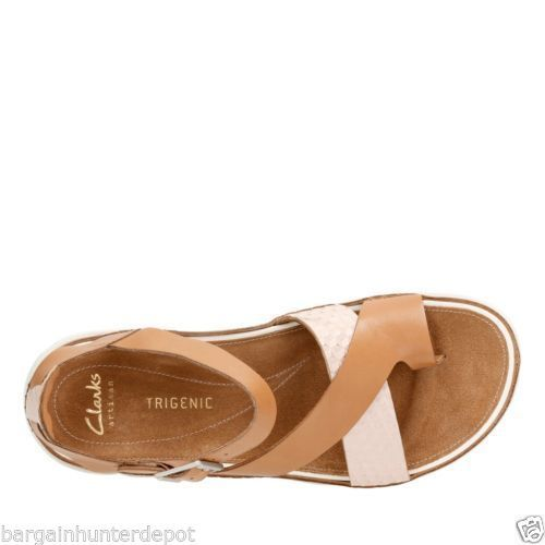 037d442b1b1d New Clarks Women s Tri Ariana Toe Loop Sandal Tan Combi Leather 26115647