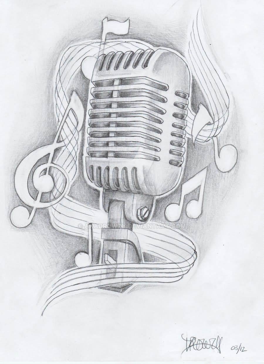Music Notes And Microphone Tattoo Design By Akadrowzy Tattoo