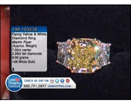 7.02 ct Fancy Yellow Diamond & 2.26 ctw Diamond 14K White Gold Ring (9.00 gram weight)