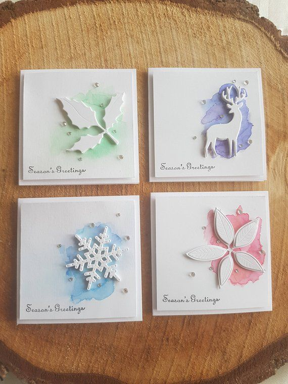 Handmade Christmas Card and Envelope Set, 12 Cards, Contemporary Mini Watercolour, Modern, Various Designs Available