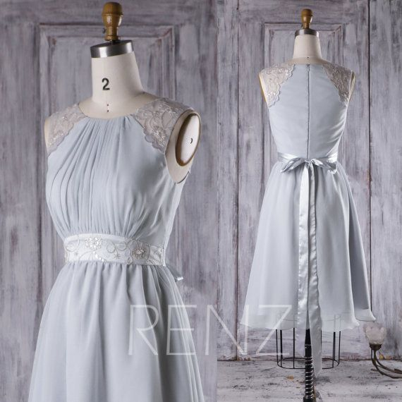 Greek Style A Line Chiffon Wedding Dress 2017 Simple Sash: 2016 Light Gray Chiffon Bridesmaid Dress, A Line Wedding
