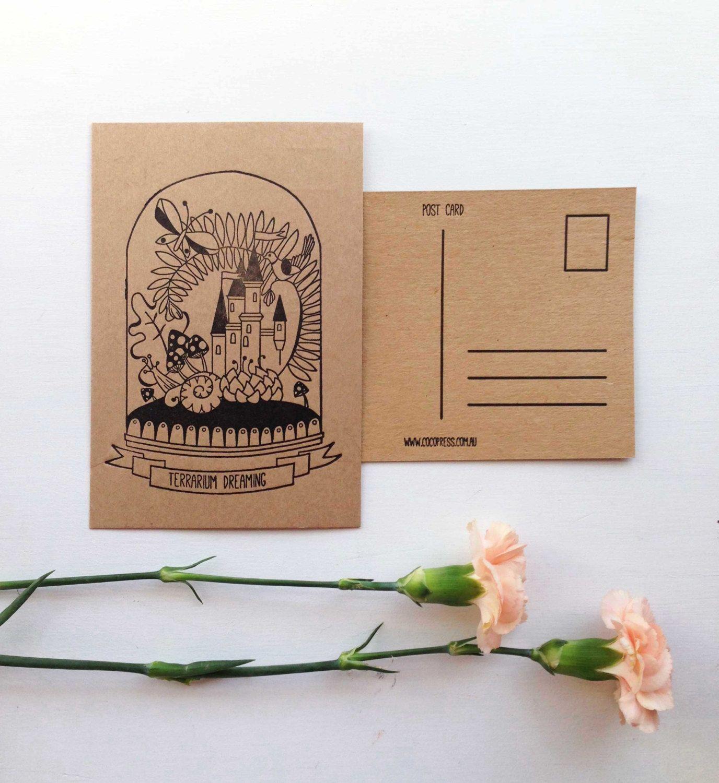 Terrarium Decor - Letterpress Postcard - Vintage Postcard ...