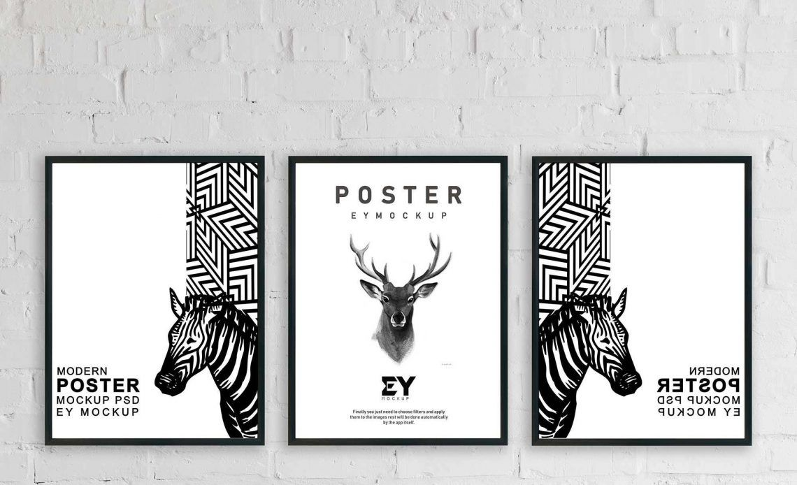 free 3 poster frames psd mockup