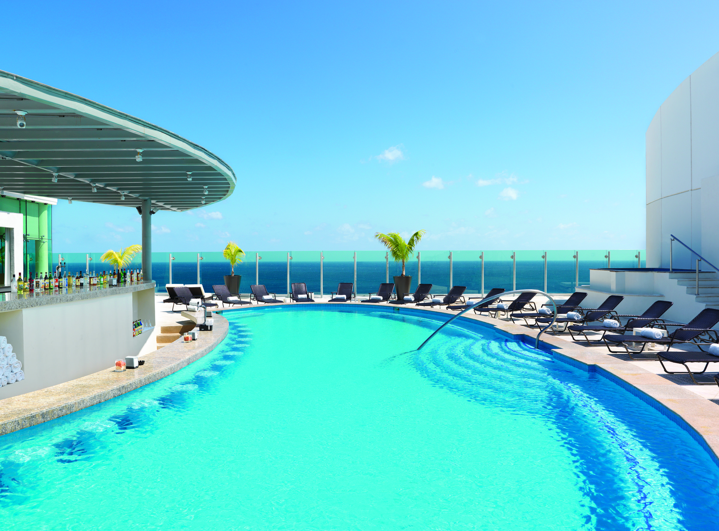Sky Pool at Beach Palace in Cancun, Mexico.