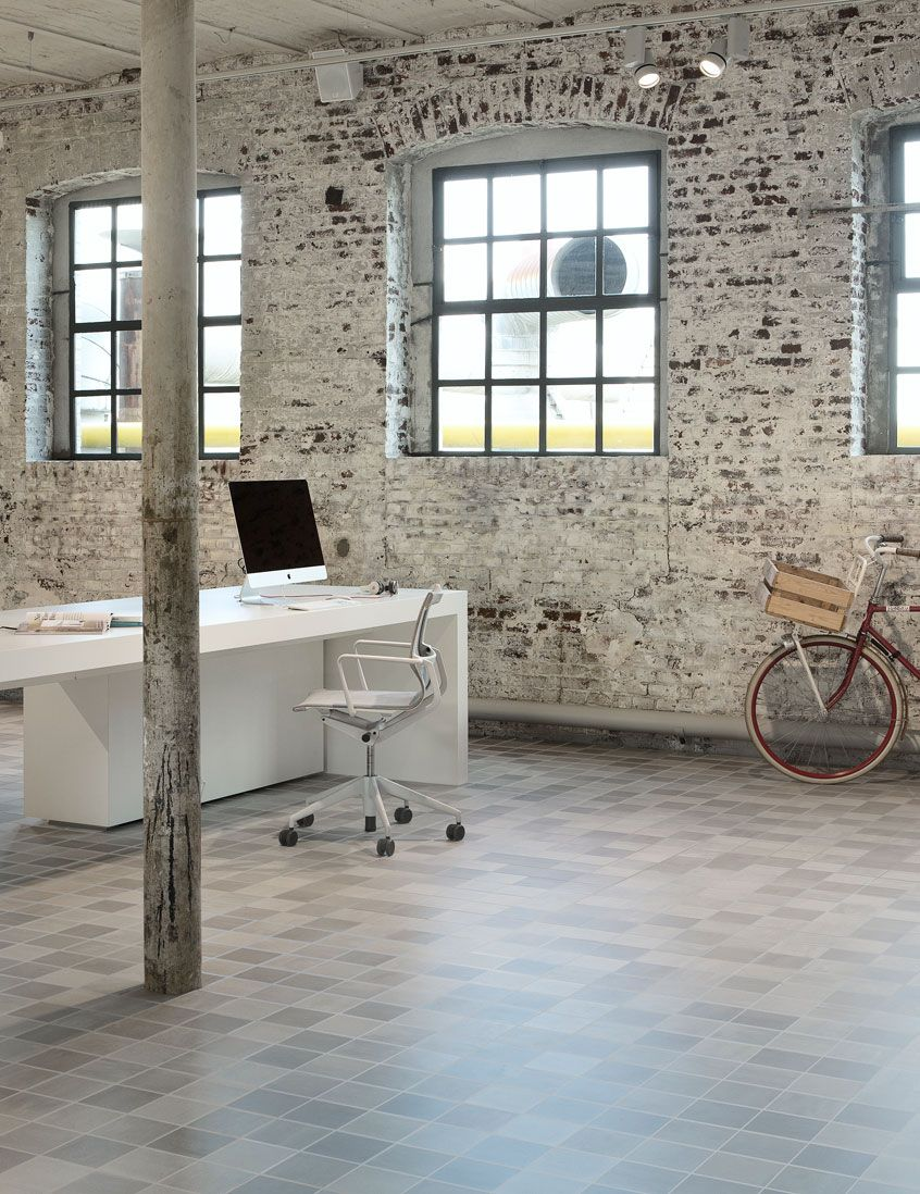 Home Office. Warehouse. industrial. Bike. Desk. Exposed stone ...