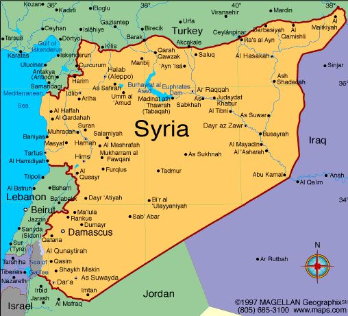 A map a Syria, to show the reader of the novel where Syria is ...