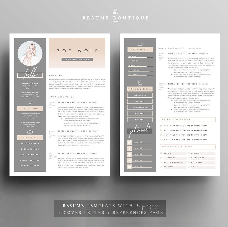 Resume Template And Cover Letter References Template For Etsy Resume Template Resume Design Template Resume Design