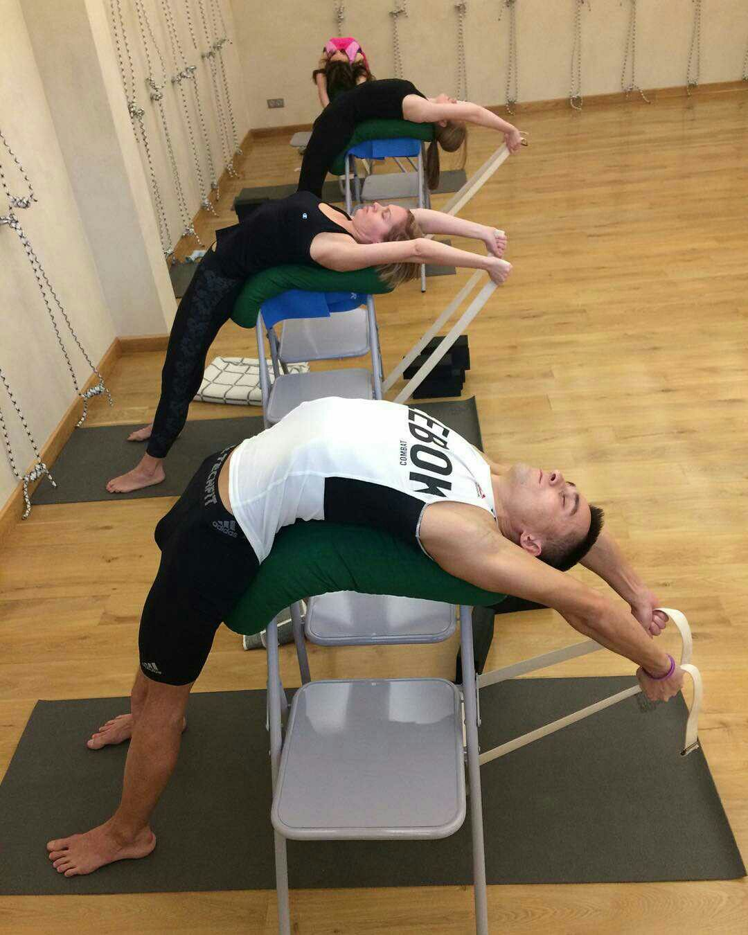 Now There S A Use For Your Chairs Opening Backbend Pose Yoga For Beginners Iyengar Yoga Poses Yoga Help