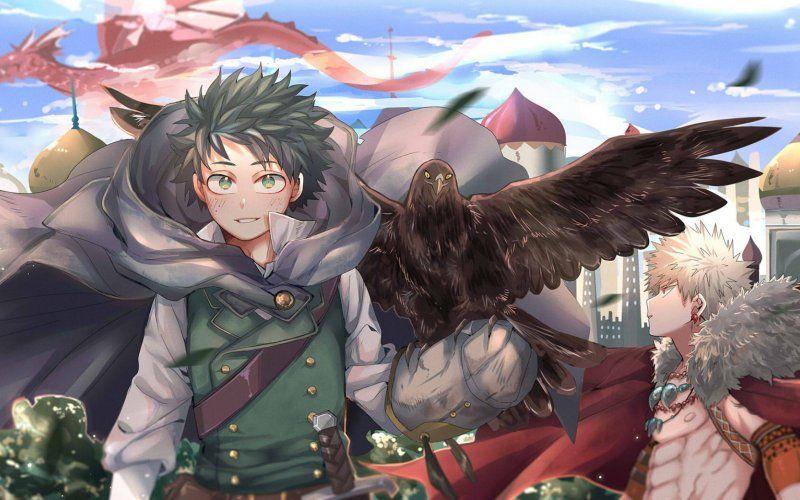 Wallpaper Anime Izuku Midoriya Katsuki Bakugou My Hero Hero Anime