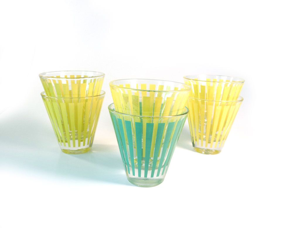 Vintage aperitif shot glasses in yellow and teal. $18.50, via Etsy.