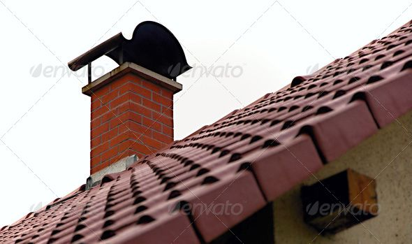 House roof ...  brick, chimney, coat, house, pattern, plaster, red, roof, roofing, sideways, sky, sloping, smokestack, tile