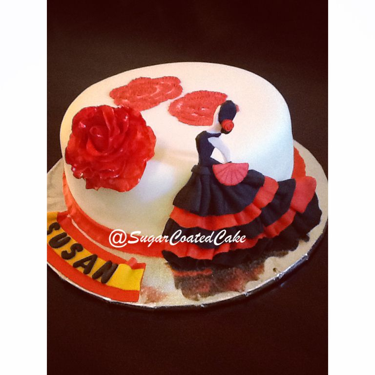 Flamenco Dancer Cake, By @SugarCoatedCake