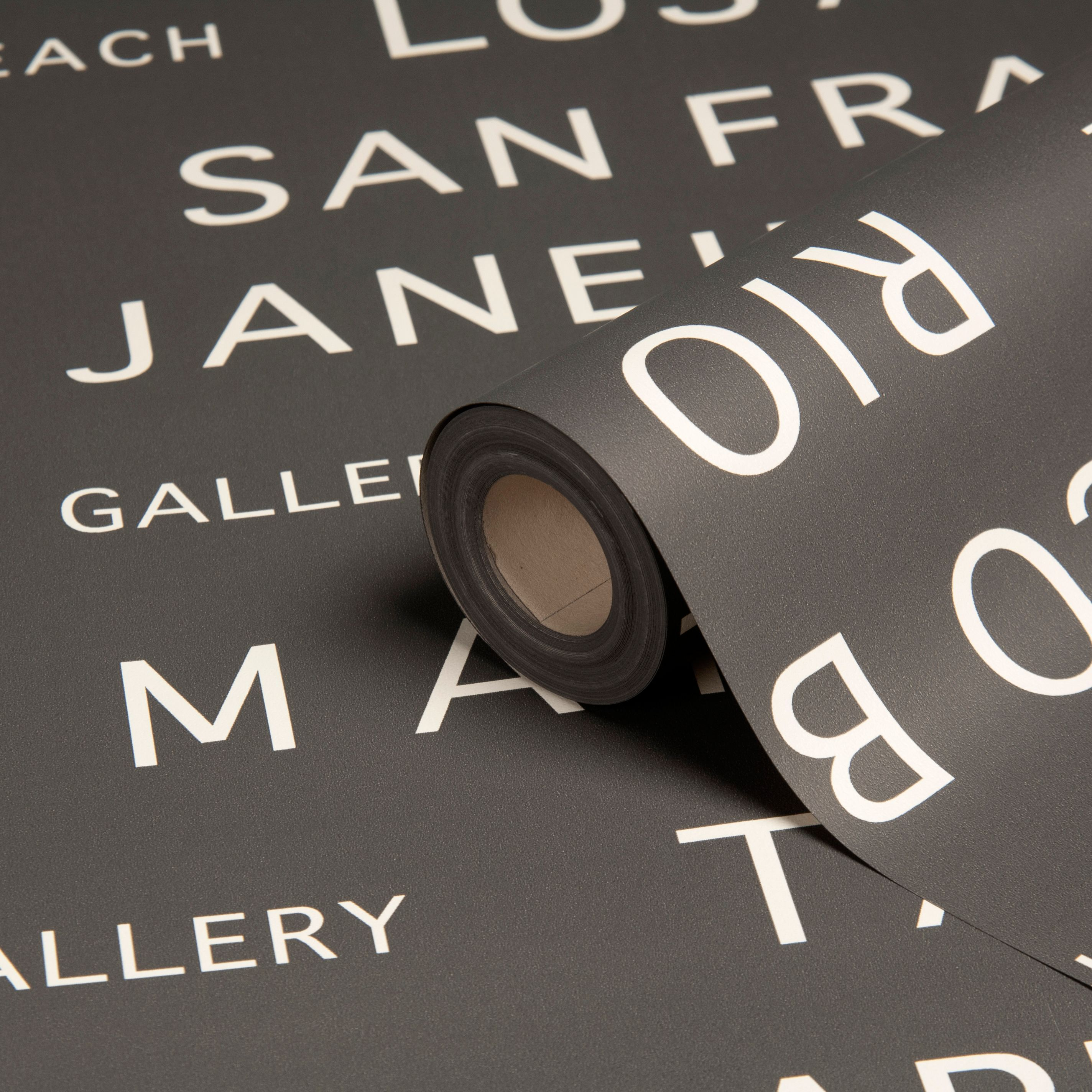 Bus Tour Typography Grey Metallic Effect Wallpaper Getting This