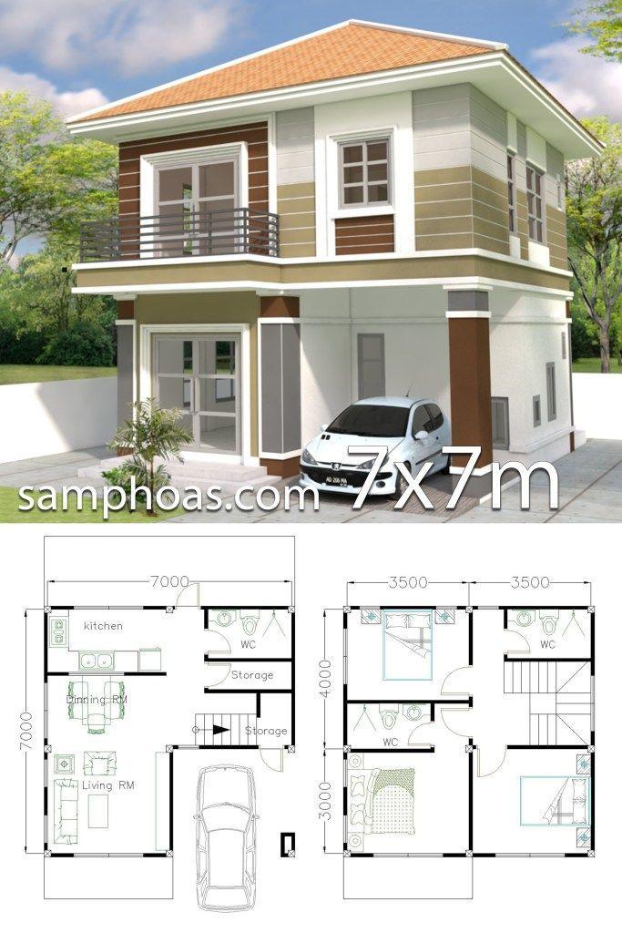 Plan De Design De Maison 7x7m Avec 3 Chambres Plan Samphoas House Construction Plan Home Design Plan House Blueprints