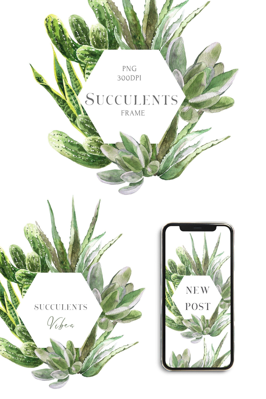 Watercolor House plants Succulents Frame clipart Trendy ... (2000 x 3000 Pixel)