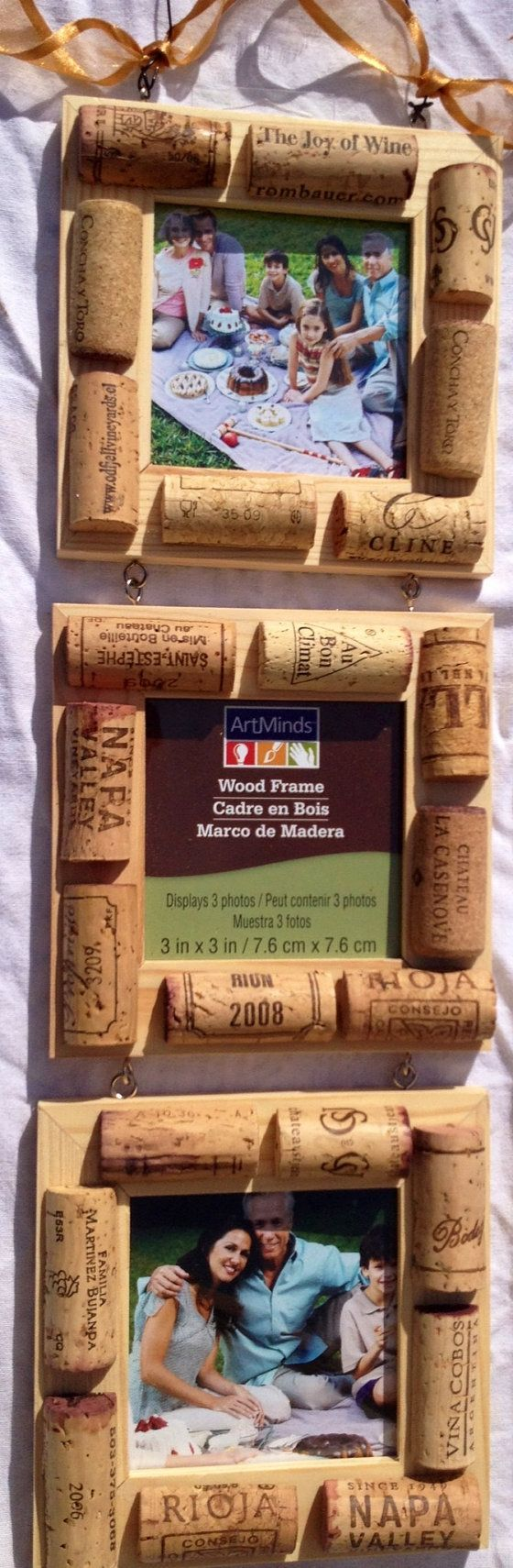 Wine cork picture frames: this would be a perfect way to display vacation photos and the corks you collect along the way.
