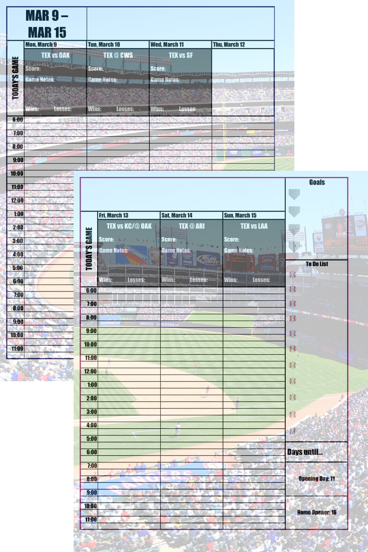 Texas Rangers 2020 Daily Planner Baseball Fan Calendar Printable 8 5 X 11 Instant Download In 2020 Daily Planner New York Mets Printing Double Sided