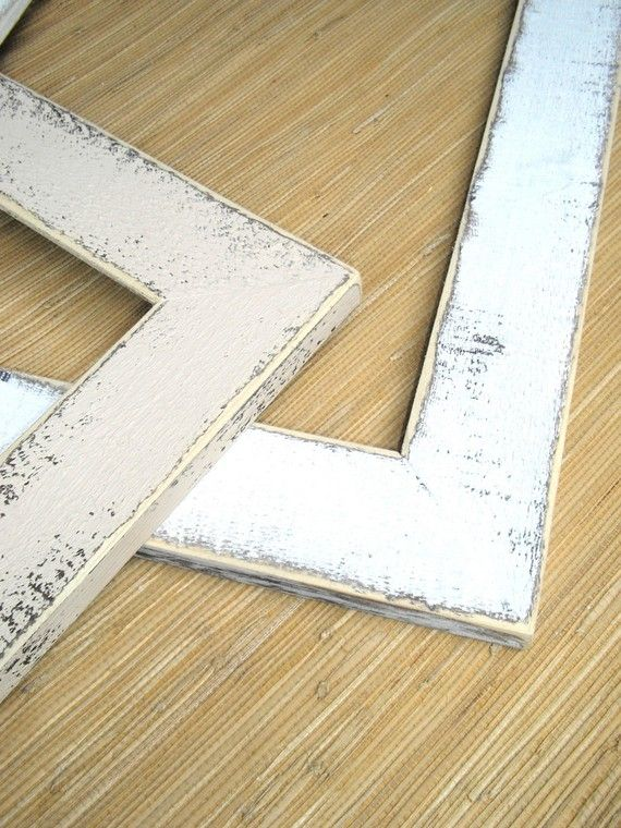 Shabby white picture frame 16x20 Or 16x16 a chunky rustic distressed ...