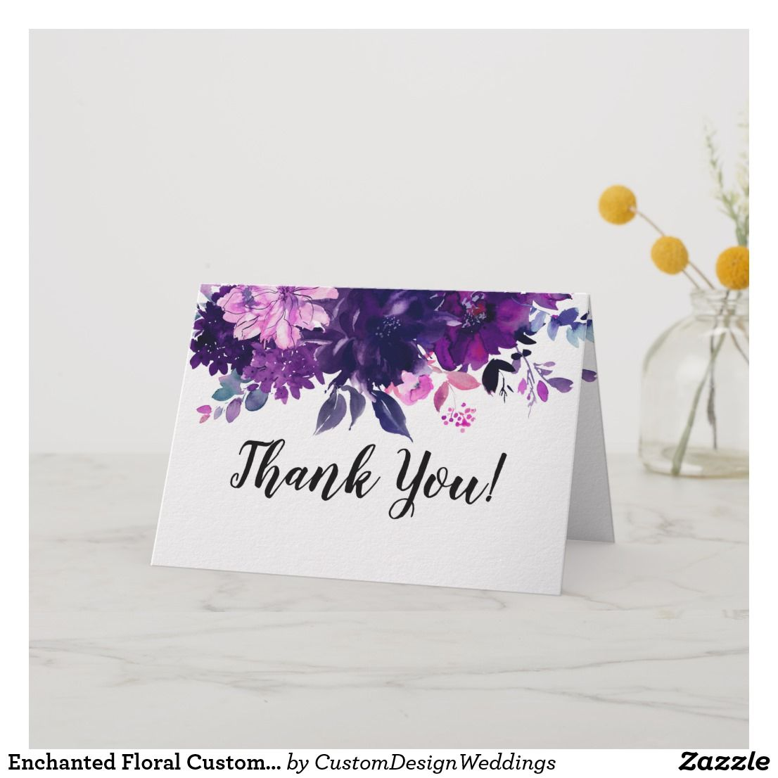Enchanted Floral Custom Wedding Photo Thank You Card Thank You