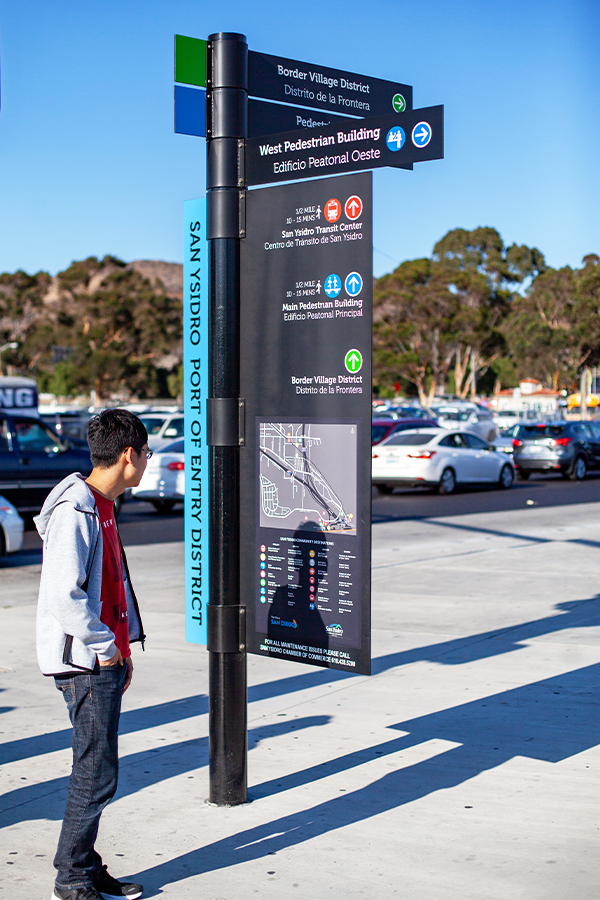 Wayfinding Graphics And Signage Design For The San Ysidro Port Of Entry In San Diego California Signage Design Wayfinding Signage Wayfinding