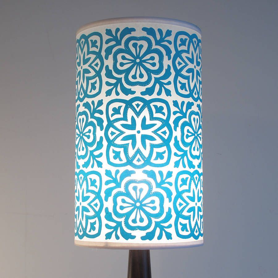 Moroccan tile long drum lampshade moroccan brown finish and moroccan tile long drum lampshade mozeypictures Image collections