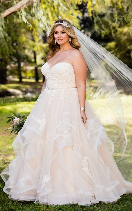 Pink Floral Lace Plus Size Wedding Dress with Textured Skirt ...