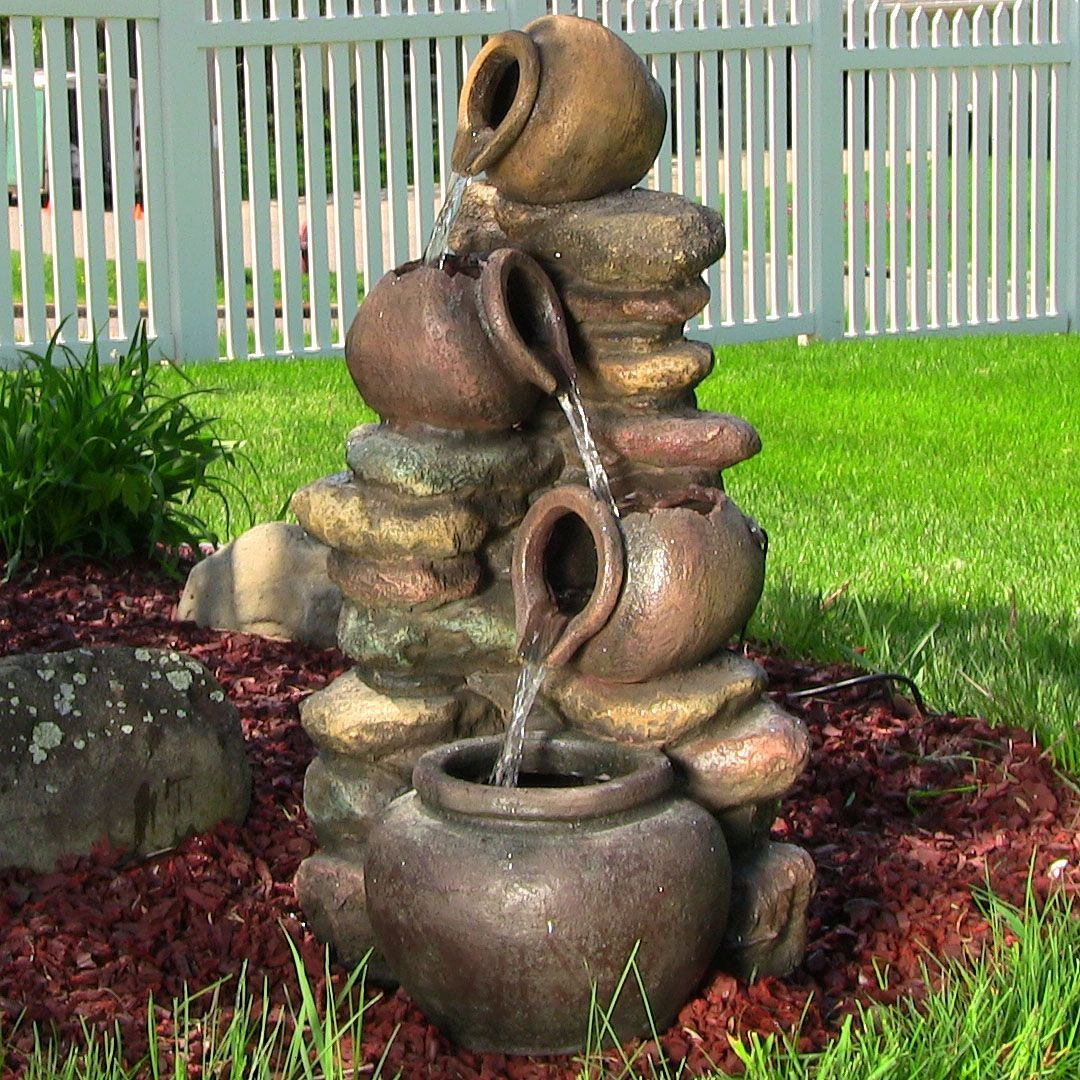 Outdoor or indoor Pitcher honey pots rock water fountain for garden ...