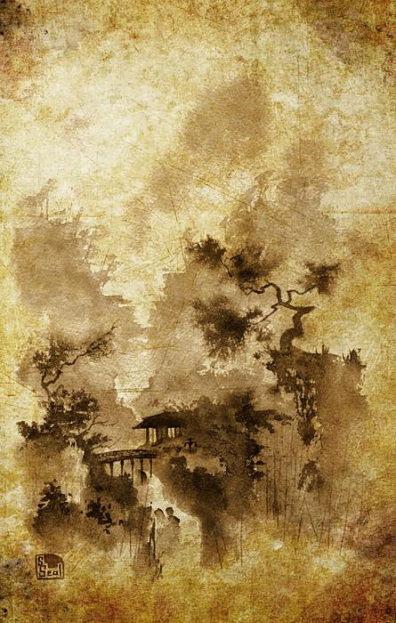 Temple Bridge Altered Chinese Landscape Painting Chinese