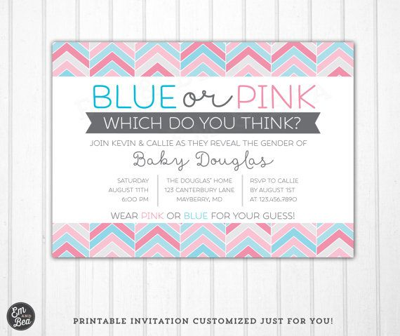 gender reveal invitation blue or pink baby reveal coed baby