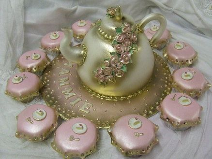 Satin Vintage Teapot cake with matching cupcakes ~ all edible