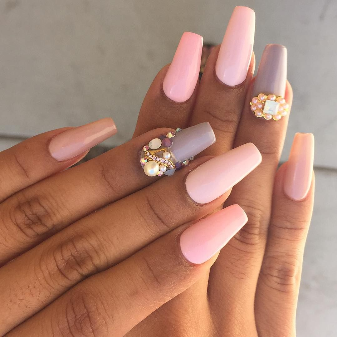 Taupe en pink nails | ❁ Nails ❁ | Pinterest | Pink nails and Fancy ...