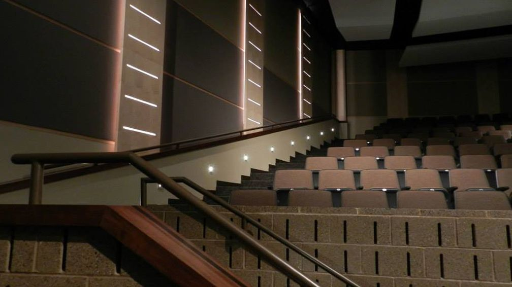 ... IA #highschool #auditorium #theatre #lecturehall #lighting #LED #linear #lightingdesign #interior #interiordesign #wallmount #aisle & L101 ll Knoxville High School Auditorium in Knoxville IA ...