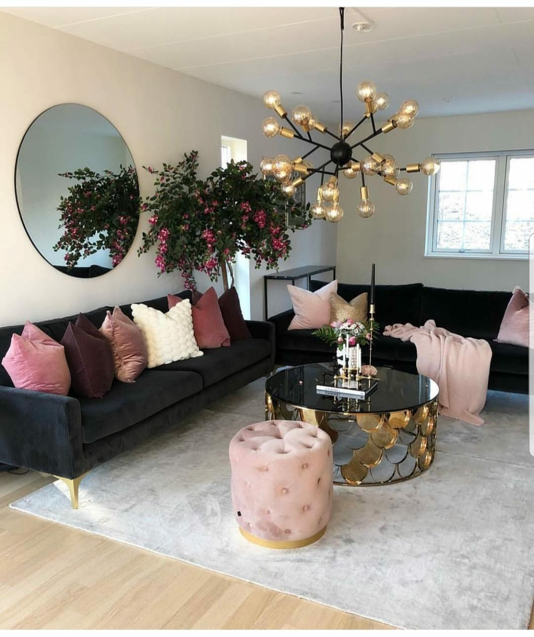 Sofa, pillows, light fixture, table, possibly rug in 2019 ...