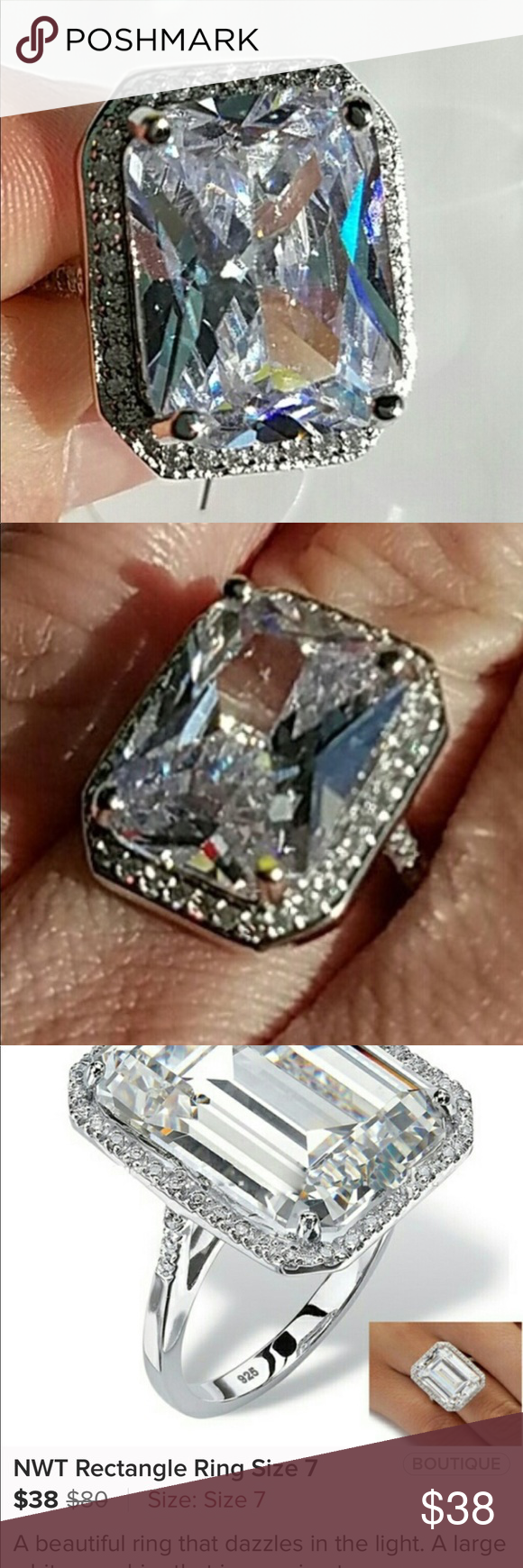 NWT rectangle silver ring Beautiful fun loving ring , stamped 925 sterling silver size 7 .. large white sapphire center stone with CZ small diamonds , simply beautiful Jewelry Rings