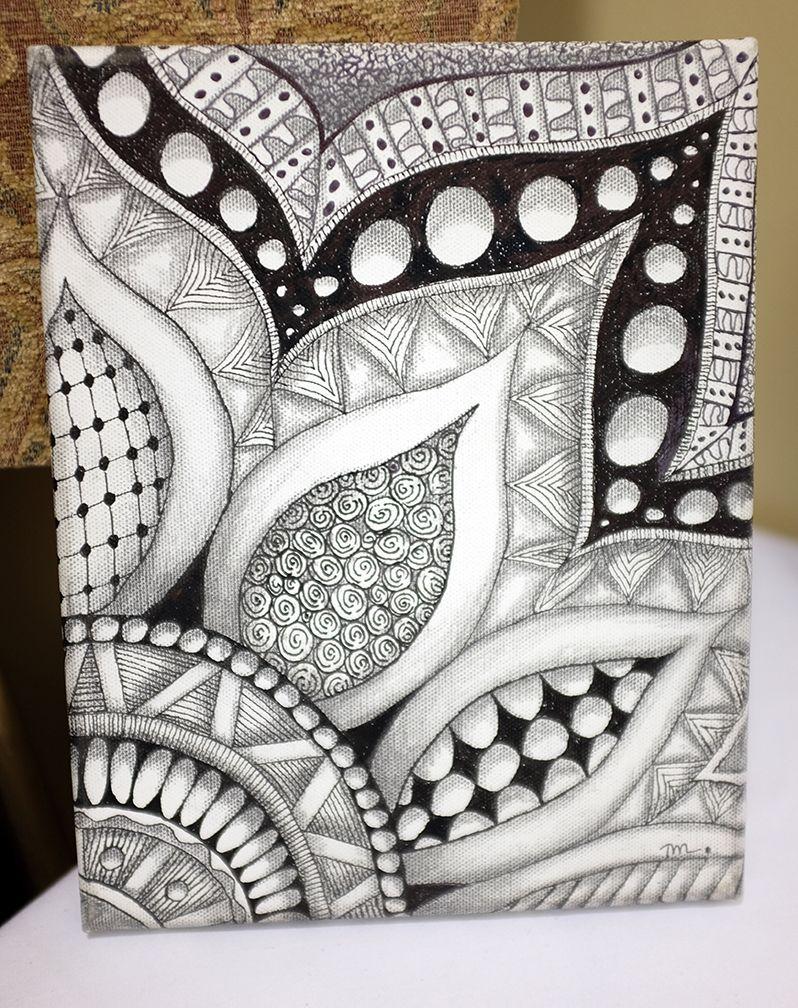 Zentangle Más Pen Art Tangle Flower Design Drawing Pattern