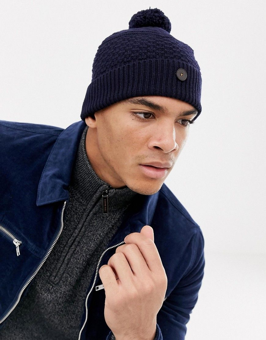 9d8fdc04abe TED BAKER MULTHAT BOBBLE BEANIE WITH MULTI STITCH - NAVY.  tedbaker ...