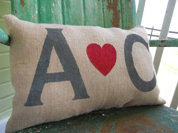Personalized Love Initials Burlap Throw Accent Pillow Custom Colors Available Wedding ...