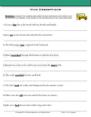 Biglearners Language Worksheets Descriptive Words Sentences