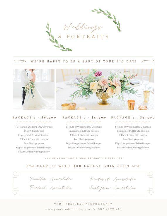 Wedding pricing template