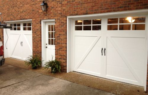 Clopay Coachman Collection White Steel Carriage Style Garage Doors, Design  22 With SQ23 Windows.