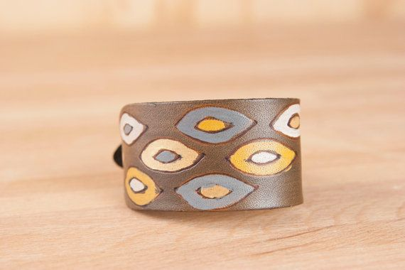 Leather Wrist Cuff -  Pato Pattern - Geometric Leather Bracelet for Men or women - Yellow, Gray and Antique Black