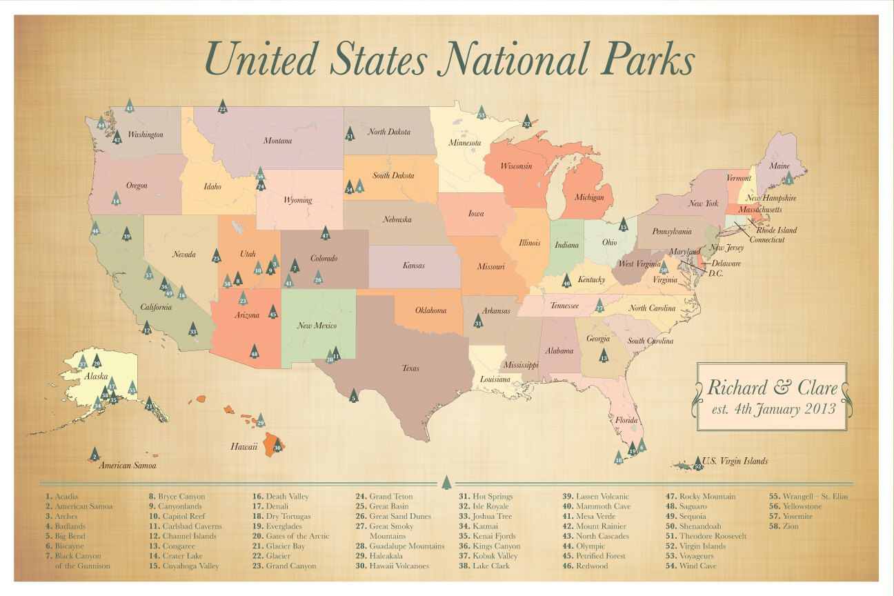 US National Parks map, push pin map, American Parks Map ...
