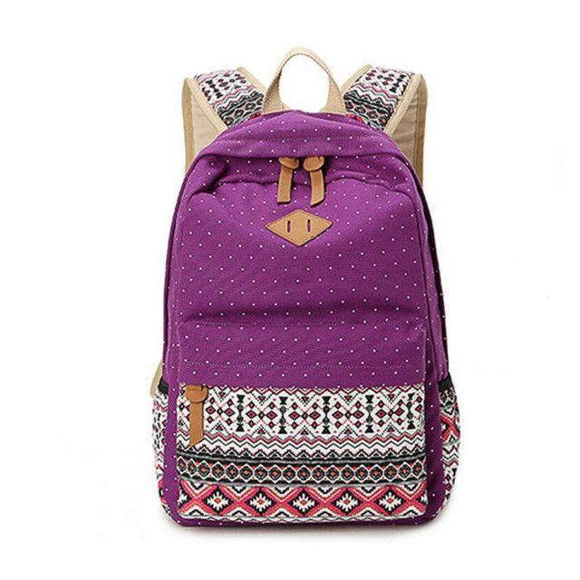 06e4a6841990 2017 vintage school bags for girls kids bag canvas backpack women bagpack  children backpacks dot shoulder bags blue pencil case